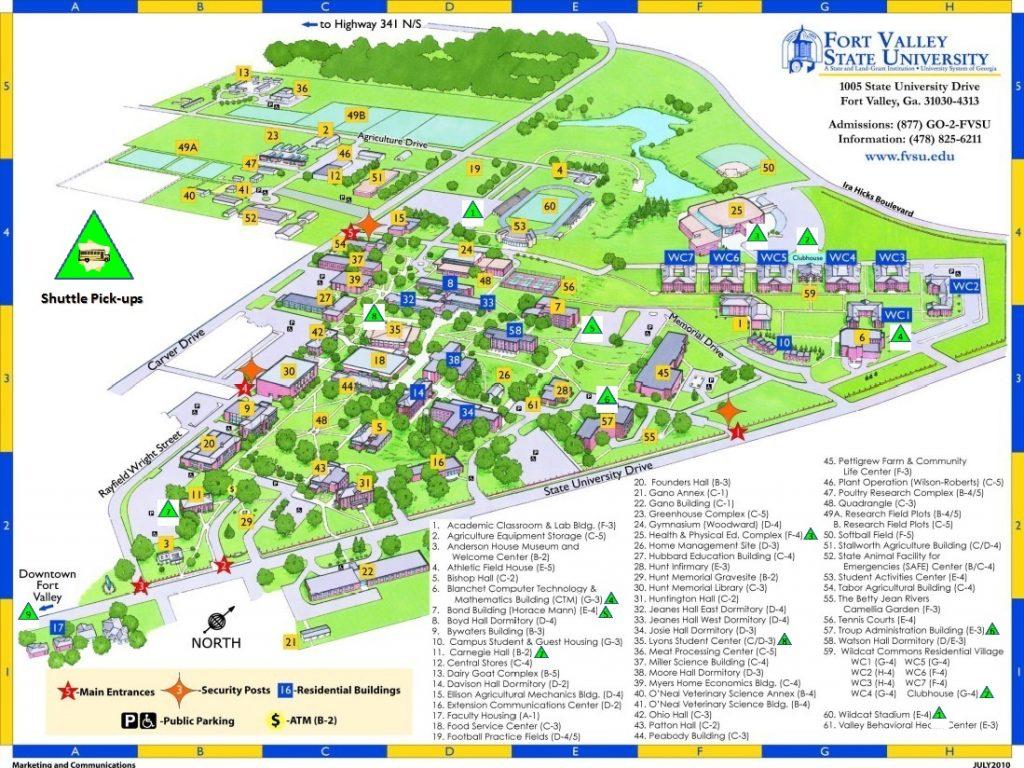 FVSU Campus Map - Shuttle Points (Marked)