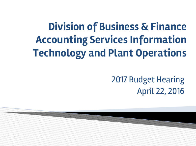 Business and Finance Budget Reduction Proposal